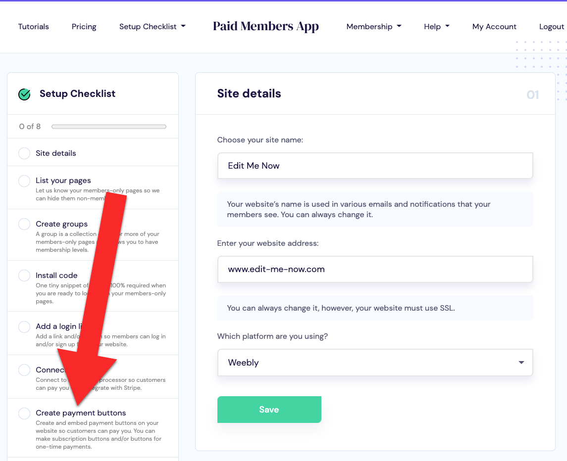 Click create payment buttons