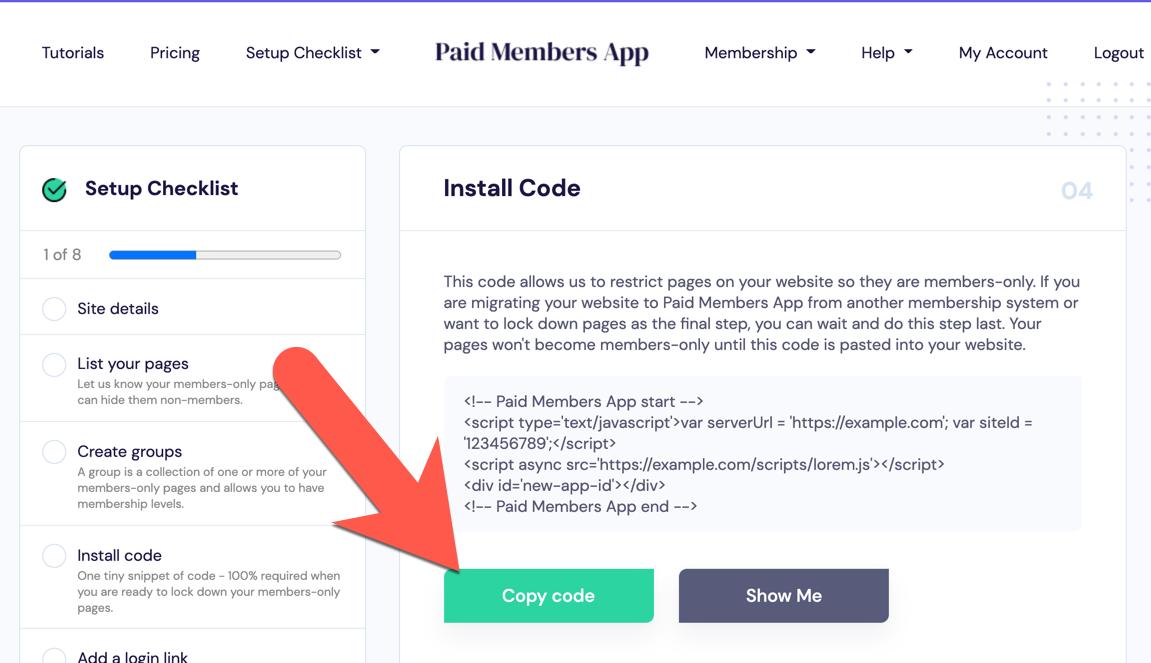 Copy install code