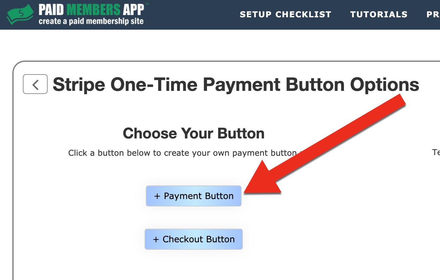Stripe choose payment button