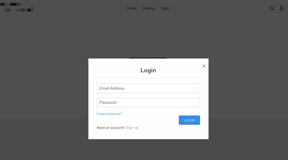 Login form after click
