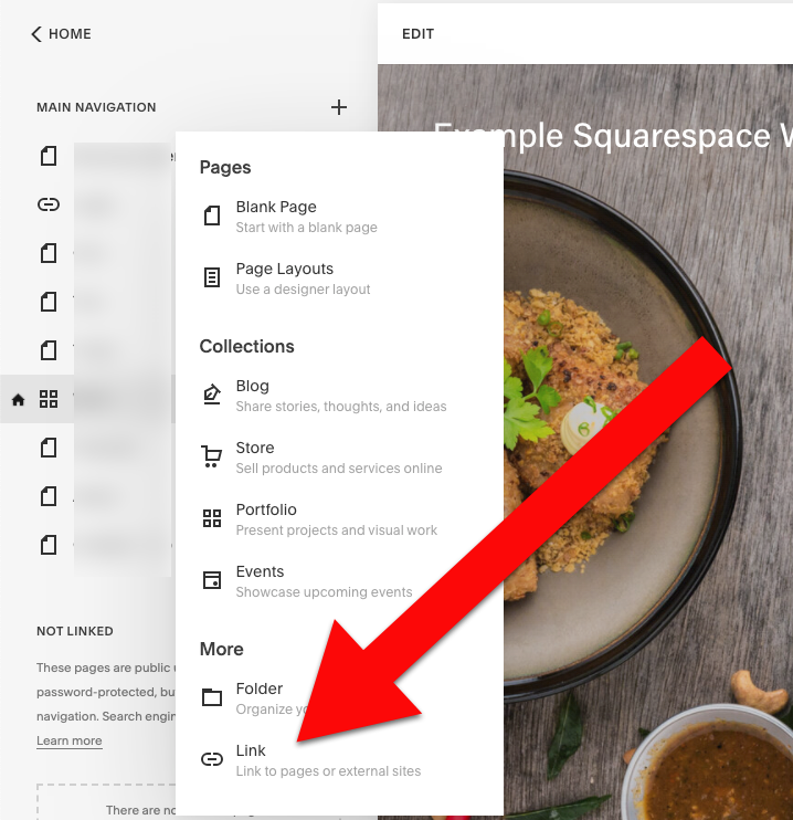 Add widget to squarespace click link