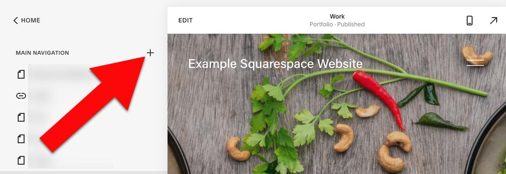 Add widget to squarespace click main navigation