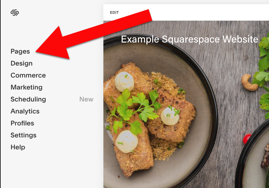 Add widget to squarespace click pages2