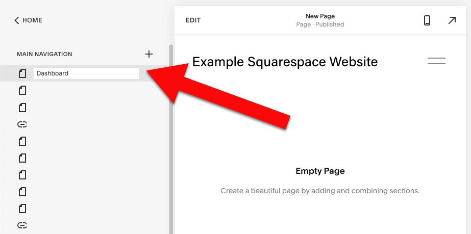 Create a dashboard page