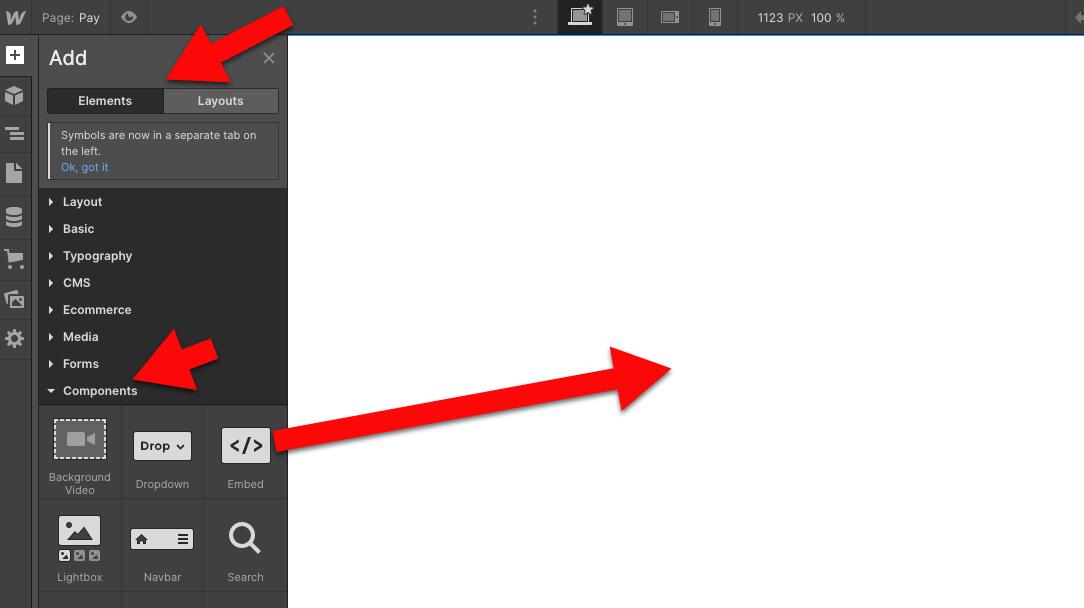 Webflow widgets embed