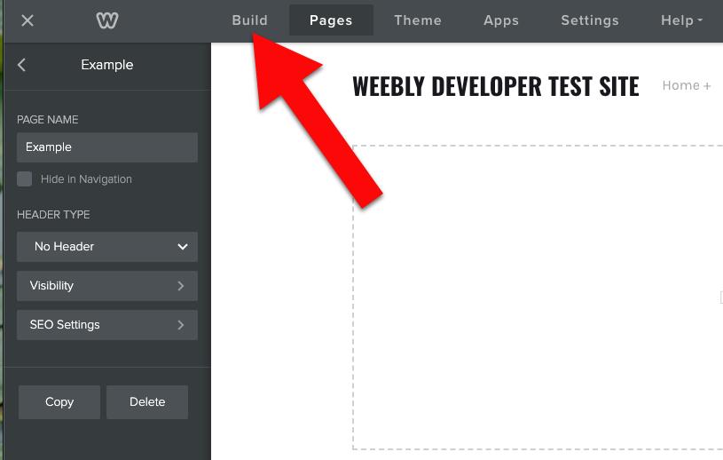 Weebly click build