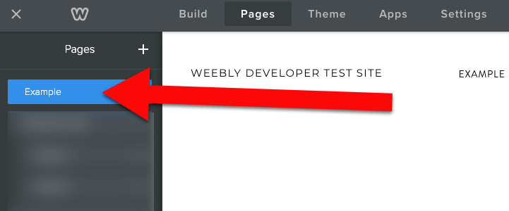 Weebly click on page name