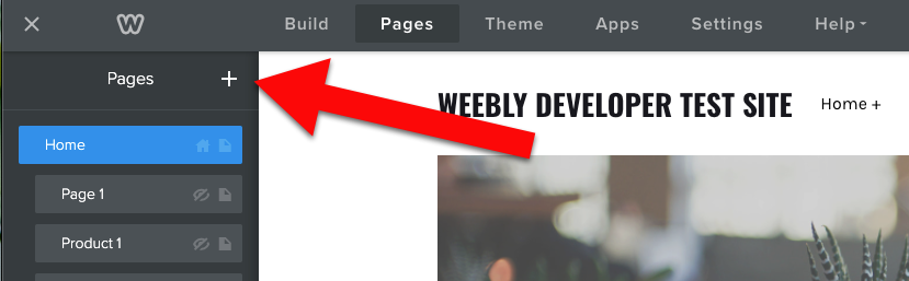 Weebly click plus sign