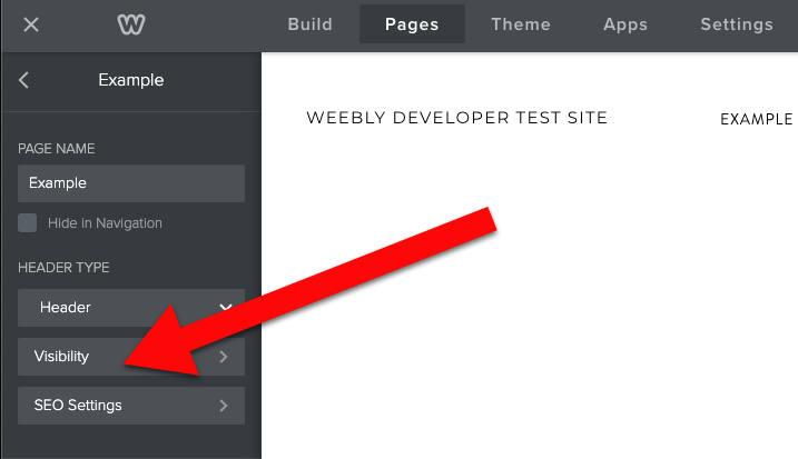 Weebly click visibility