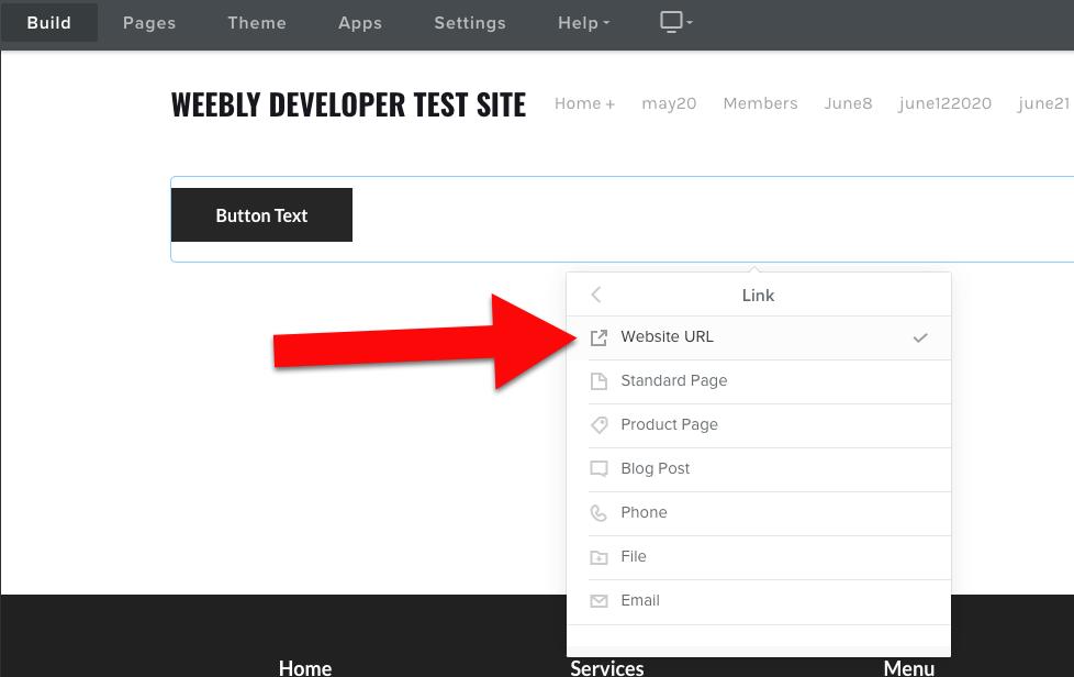 Weebly click website url