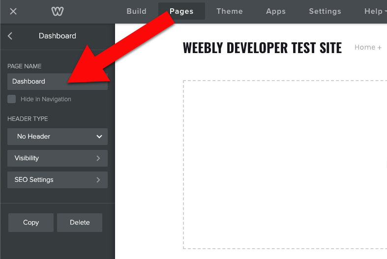 Weebly create a dashboard page