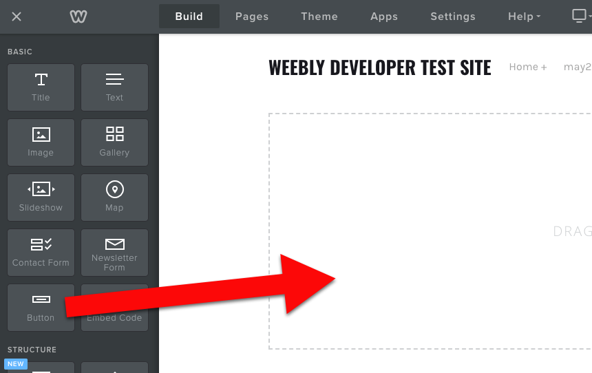Weebly drag button