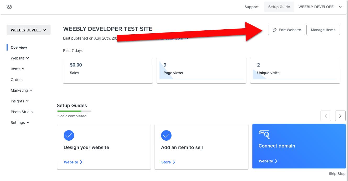 Weebly edit website