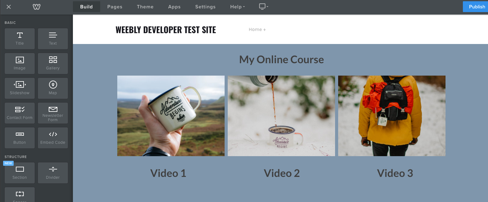 Weebly image gallery with text