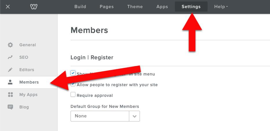 Weebly settings members