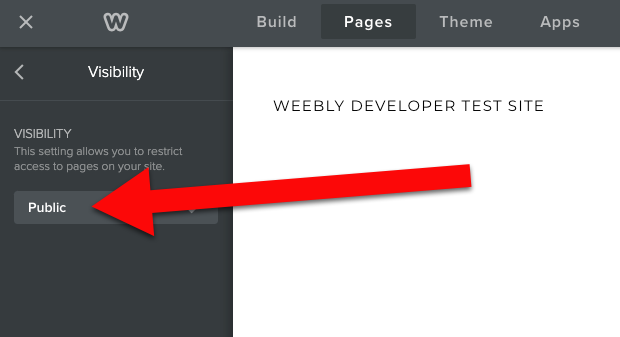 Weebly visibility public