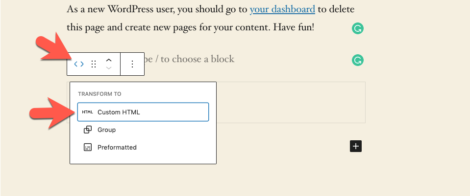 Choose custom html